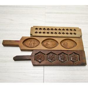 菓子木型 落雁 和三盆 羽子板タイプ 3本セット 1602-718|passage-bm