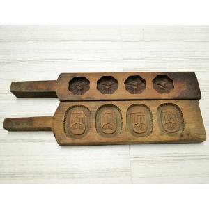 菓子木型 落雁 和三盆 羽子板タイプ 2本セット 1602-745|passage-bm