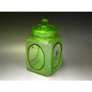 ウランガラス 広口瓶 キャンディポット レトロ アンティーク カッティング 1801-498|passage-bm|02
