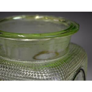 ウランガラス 広口瓶 キャンディポット レトロ アンティーク カッティング 1801-498|passage-bm|15