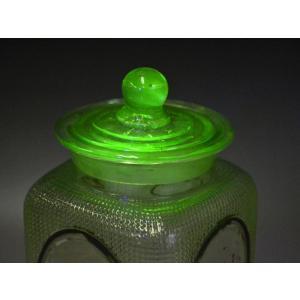 ウランガラス 広口瓶 キャンディポット レトロ アンティーク カッティング 1801-498|passage-bm|03
