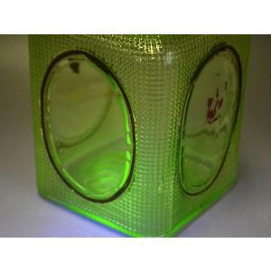 ウランガラス 広口瓶 キャンディポット レトロ アンティーク カッティング 1801-498|passage-bm|04