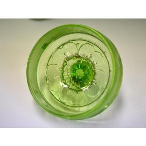 ウランガラス 広口瓶 キャンディポット レトロ アンティーク カッティング 1801-498|passage-bm|06