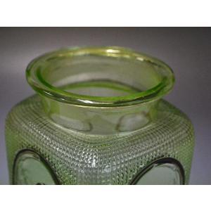 ウランガラス 広口瓶 キャンディポット レトロ アンティーク カッティング 1801-498|passage-bm|08