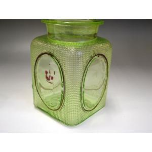 ウランガラス 広口瓶 キャンディポット レトロ アンティーク カッティング 1801-498|passage-bm|10