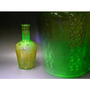 ウランガラス 花瓶 花活 カッティング レトロ アンティーク 1801-500|passage-bm