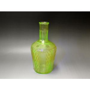ウランガラス 花瓶 花活 カッティング レトロ アンティーク 1801-500|passage-bm|02