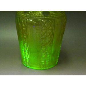 ウランガラス 花瓶 花活 カッティング レトロ アンティーク 1801-500|passage-bm|04