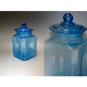 カッティングガラス 色ガラス 広口瓶 キャンディポット レトロ アンティーク 1801-501|passage-bm