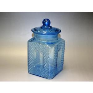 カッティングガラス 色ガラス 広口瓶 キャンディポット レトロ アンティーク 1801-501|passage-bm|02