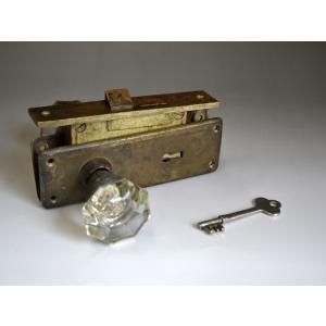 ドアノブ 取っ手 アンティーク レトロ ガラス 鍵・木ネジ付 1809-069|passage-bm
