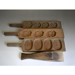 菓子型 落雁 和三盆 羽子板タイプ 小判型花四種 蓮花 他 4個セット 1809-096|passage-bm