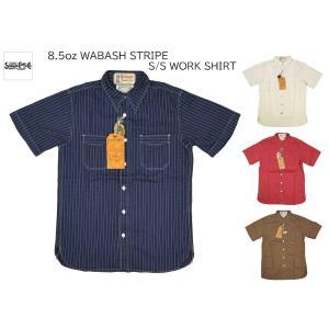 シュガーケーン SUGAR CANE フィクションロマンス FICTION ROMANCE ウォバッシュストライプ 半袖ワークシャツ WABASH STRIPE S/S WORK SHIRTS SC38452|passage-store