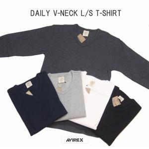 AVIREX アヴィレックス デイリー テレコ Vネック 長袖Tシャツ DAILY V-NECK T-SHIRT 6153480 passage-store