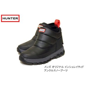 HUNTER ハンター メンズ オリジナル インシュレイティド アンクル スノー ブーツ ブラック|passage-store