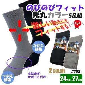 のびのびカラー靴下 先丸 5足組 24.0〜27.0cm対応 【送料無料!メール便対応となります】#103|passion-work