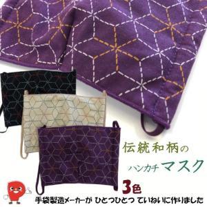 和柄マスク  布マスク  日本製  伝統の和柄「麻の葉」 手袋製造メーカーの繊細な縫製技術を駆使しました!【送料無料!メール便対応となります】PC1000|passion-work