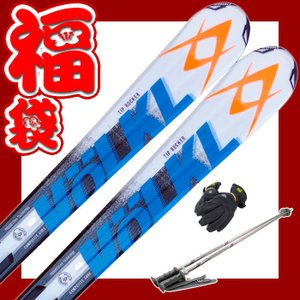 スキー福袋 フォルクル スキー4点セット RTM73 オレンジブルー ビンディング/ストック/グローブ付き ロッカー カービングスキー passo