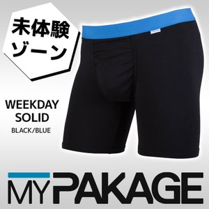 MYPAKAGE (マイパッケージ) メンズ アンダーウェア WEEKDAY SOLID BLACK/BLUE 息子の小部屋パンツ|passo