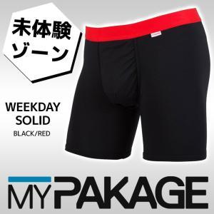 MYPAKAGE (マイパッケージ) メンズ アンダーウェア WEEKDAY SOLID BLACK/RED 息子の小部屋パンツ|passo