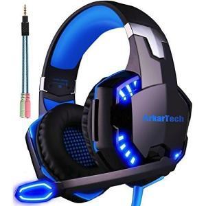 ブルー) ARKARTECH G2000 ゲーミング ヘッドセット ヘッドホン ヘッドフォン ゲーム...