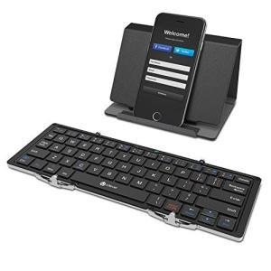 ブラック) iClever Bluetoothキーボード 折りたたみ式 レザーケース スタンド付き ...