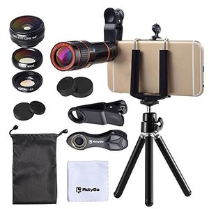 ActyGo (高品質HD12X望遠レンズ付きスマホレンズ4点セット) 正規品 セルカレンズ カメラ...