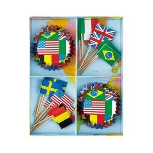 PT341 グラシン カップケーキ マフィン ベーキング 24枚 紙型 紙製 焼型 カップケーキボックス ナショナルフラッグ カップ、ピック24ヶ|pastreet