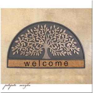 玄関 マット屋外 ウェルカム サロンラバーマット ハーフサークル ダイカット サロン 美容院 店舗什器の写真