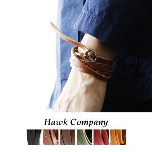 (ホークカンパニー) HAWK COMPANY 5連巻き レザーブレスレット サークルバックル  40代 50代|paty