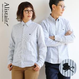 長袖 ボタンダウン シャツ ストライプ  silk hat and stick 刺繍 日本製 綿100% オックスフォード ALISTAIR レディース メンズ|paty