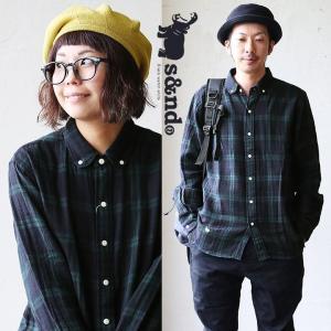 長袖シャツ 丸襟 ブラックウォッチ チェック カバ刺繍 柔らか ダブルガーゼ (セカンド) s&nd 40代 50代|paty