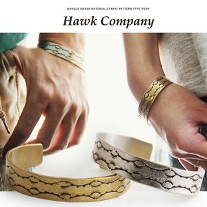 (ホークカンパニー) HAWK COMPANY バングル 真鍮素材 エスニック柄型押し 40代 50代|paty