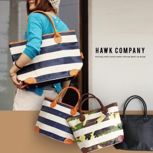 (ホークカンパニー) HAWK COMPANYトートバッグ コットンキャンバス レザーハンドル ジップデザイン 40代 50代|paty