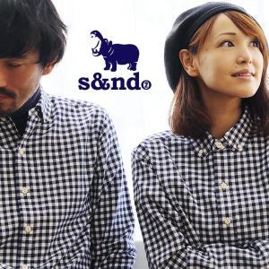 シャツ 長袖シャツ ギンガムチェックシャツ ラウンドカラー ボタンダウン カバ刺 s&nd|paty