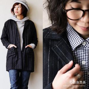 (オハナ) ohana ジャケット コート ピンストライプ ウール混 軽量起毛素材 サイドベンツ ミドル丈 40代 50代|paty