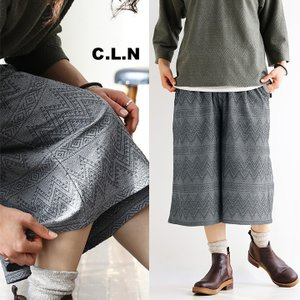 (シーエルエヌ) C.L.N ワイド パンツ ジャガード 織り柄 フレア シルエット ウエストゴム 日本製 40代 50代|paty
