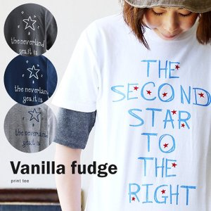 (バニラファッジ) Vanilla fudge半袖 Tシャツ クルーネック ロゴプリント【SECOND STAR】綿100% 40代 50代|paty