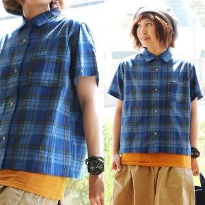 (シーエルエヌ) C.L.N 半袖 シャツ ワイド シルエット インディゴ染め チェック柄 変形前立て 日本製 薄手 綿100% 40代 50代|paty