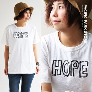 (パシフィック パーク ストア)  PACIFIC PARK STORE半袖 クルーネック Tシャツ  【HOPE】 手書き風 プリント スラブ天竺 40代 50代|paty