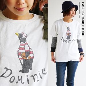 (パシフィック パーク ストア) PACIFIC PARK STORE半袖 クルーネック Tシャツ ラグビーペンギン プリント レディース Tee 40代 50代|paty
