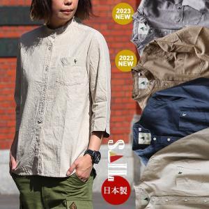 SAIL シャツ 七分袖 無地  ワンポイント バンドカラー リネン コットン 日本製 レディース