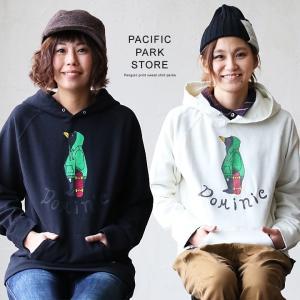 パーカー プルパーカー ペンギンプリント  スウェットパーカー ラグラン  (パシフィック パーク ストア) PACIFIC PARK STORE 40代 50代|paty