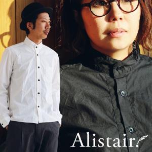 シャツ 長袖 「ハイ バンドカラー」 綿100% タイプライター 刺繍 配色 ボタン 日本製 ダックテール ALISTAIR|paty