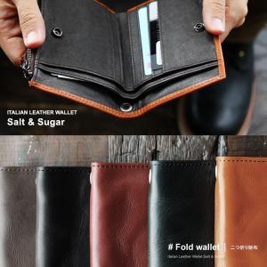 財布 ラウンドジップ 2つ折り財布 牛革 本革 小銭入れあり 札入れ2 カード入れ4個  (ソルトアンドシュガー) Salt&Sugar|paty
