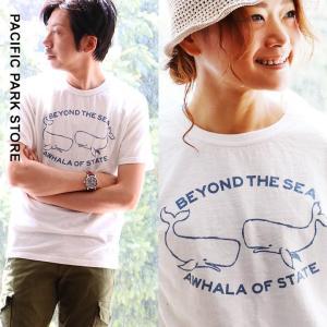 Tシャツ 綿100% スラブ天竺 クジラ 日本製 プリント (パシフィック パーク ストア) PACIFIC PARK STORE 40代 50代|paty