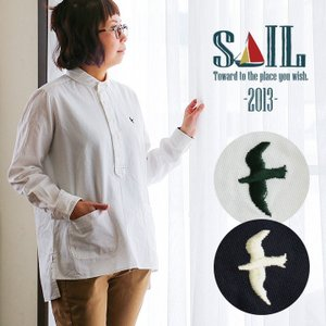 SAIL シャツ 長袖 プルオーバー 日本製 綿100% ソフト オックス 無地 つばめ ツバメ 刺...