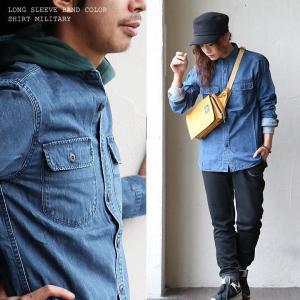 長袖 シャツ バンドカラー バンドカラーシャツ ミリタリーシャツ デニム バックサテン 綿100%  (ジーアールエヌ) grn|paty