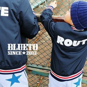 スタジアムジャケット 3色リブ 薄手 「ROUTE プリント」 キッズ 子供服 130  (ブルート) BLUETO 春 夏 40代 50代|paty