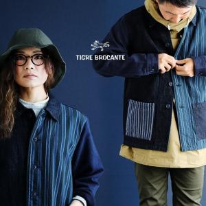 ジャケット シャツジャケット ミックス デニム シャツ ジャガードストライプ インディゴ  (ティグルブロカンテ) TIGRE BROCANTE 40代 50代|paty